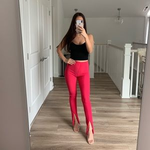 High Waisted Magenta Pants